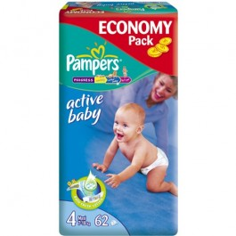 Pampers ACTIVE BABY rozmiar 4 (7-18kg) x 62szt.
